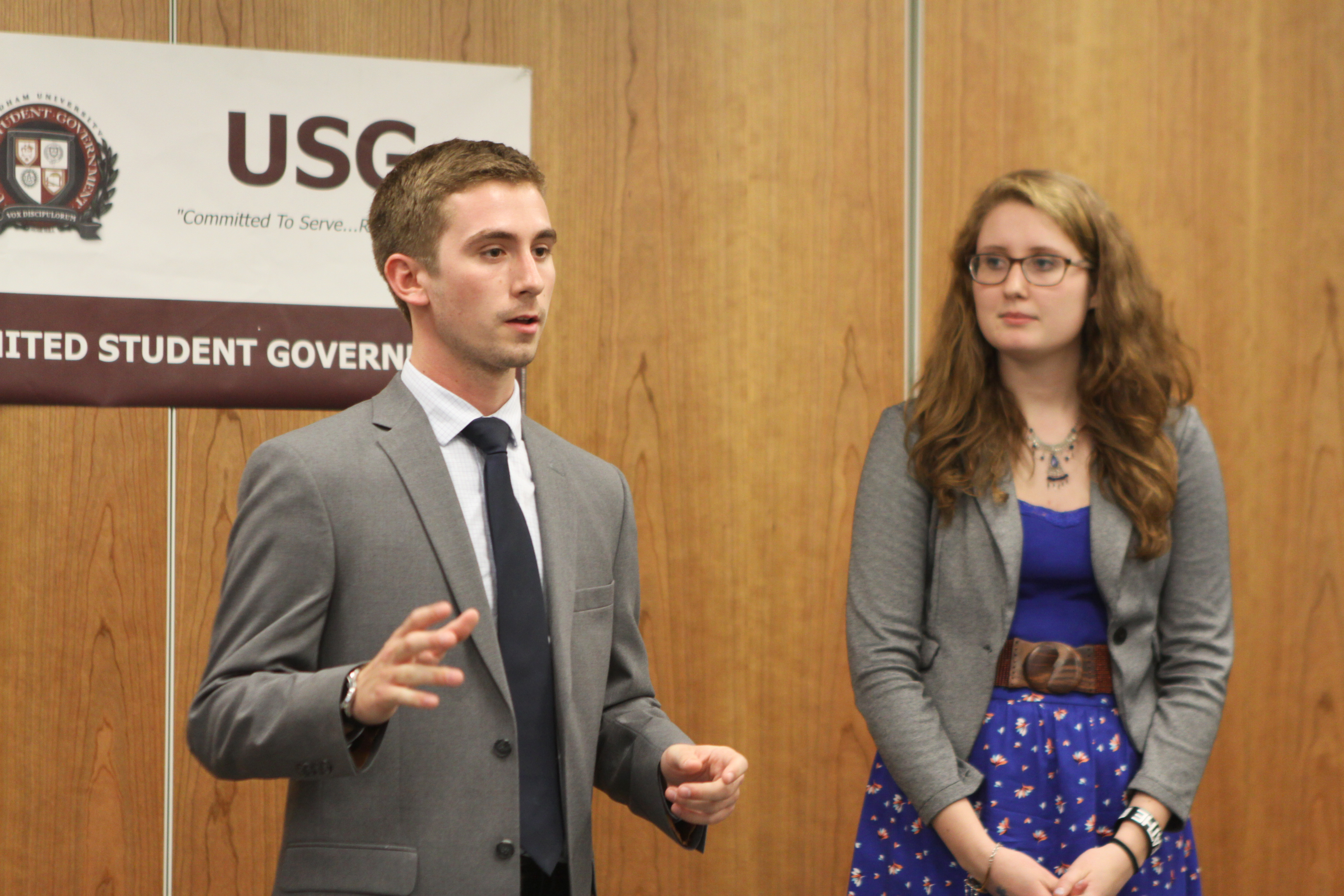 Brendan Francolini and Aileen Reynolds, top USG leaders at Rose Hill. (Katie Meyer/The Ram)