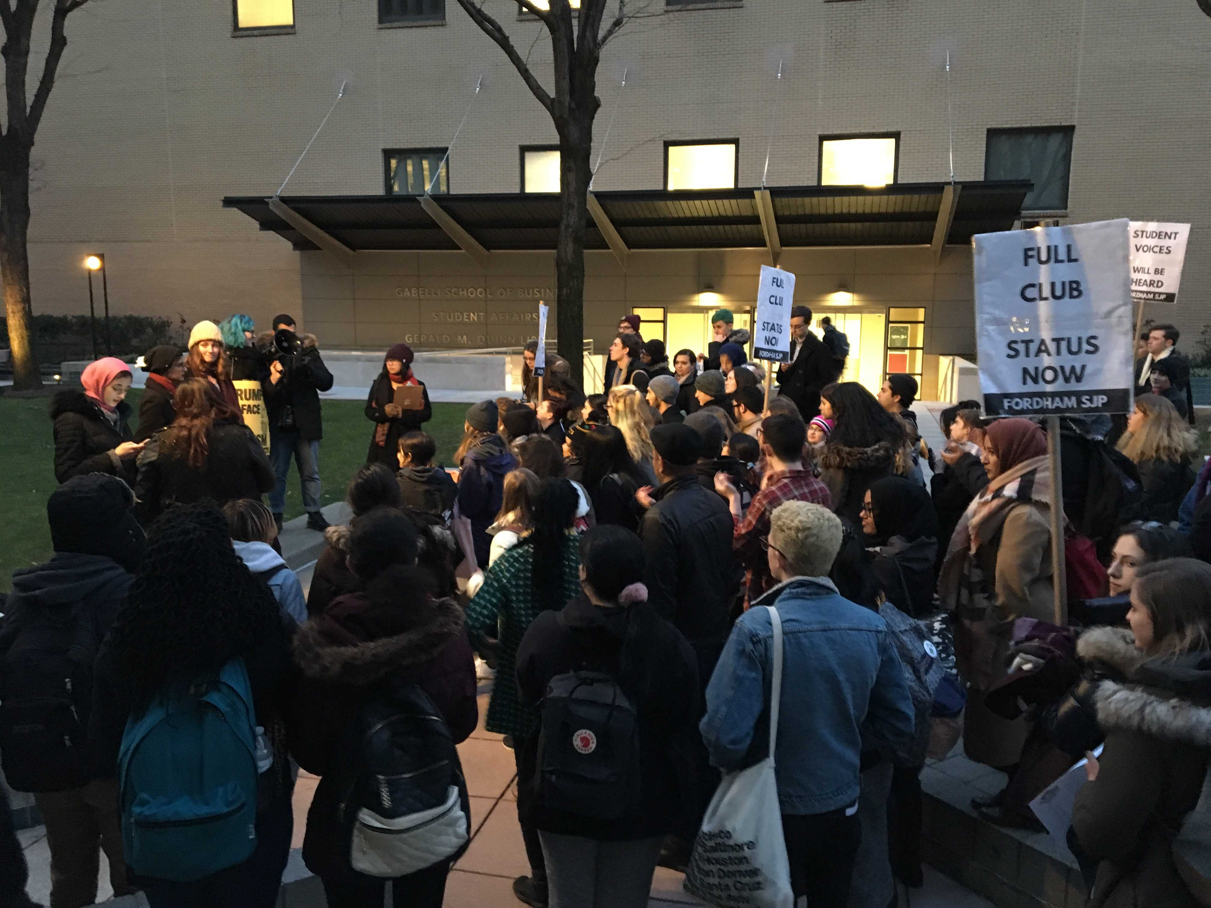 Protest organizer Sapphira Lurie will engage in a disciplinary hearing Wednesday, Feb. 22., in response to her unauthorized protest. (Victor Ordonez / The Fordham Ram)