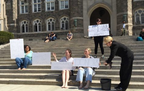 FSU member dressed as Father McShaner during the FSU protest on Keating steps.