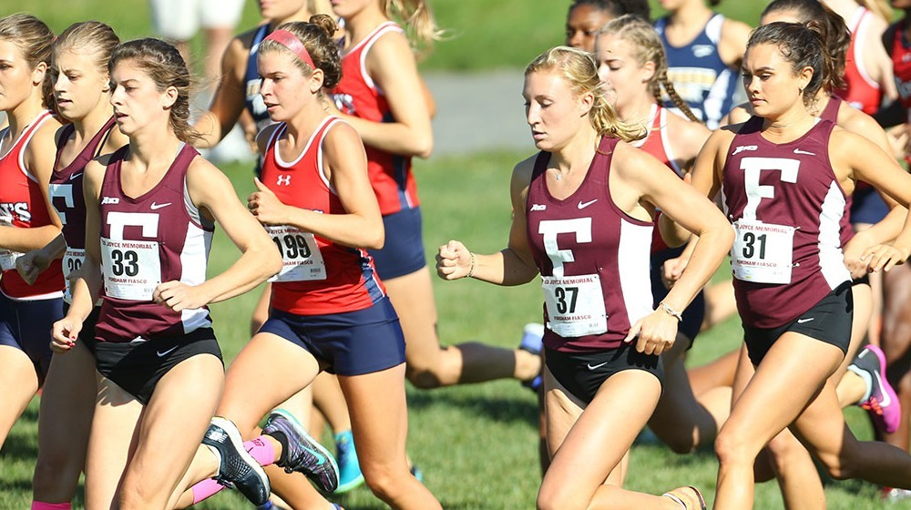 From L to R for Fordham: Laurel Fisher, Kate McCormack and Kelsey Coppinger. (Courtesy of Fordham Athletics)