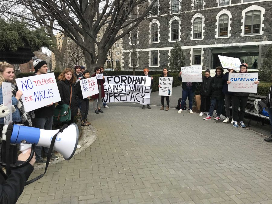 Students+chanted+slogans+such+as+%22No+Nazis%2C+No+KKK%2C+No+Fascist+USA%22+to+protest+incidents+of+hate+speech+on+Fordham%27s+campus.+%28Courtesy+of+Kevin+Stoltenborg%29