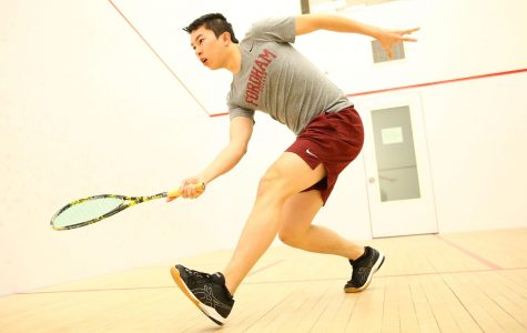 Peter Yuen Competes in the College Squash Championships last weekend. (Courtesy of Fordham Athletics)