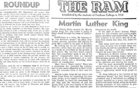 Student member of  Fordham's Society for Afro-American Advancement, Robert Bennett, responded to the assasination of Dr. King. (Courtesy of The Fordham Ram)