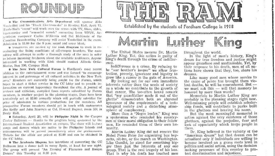 Student+member+of++Fordham%27s+Society+for+Afro-American+Advancement%2C+Robert+Bennett%2C+responded+to+the+assasination+of+Dr.+King.+%28Courtesy+of+The+Fordham+Ram%29