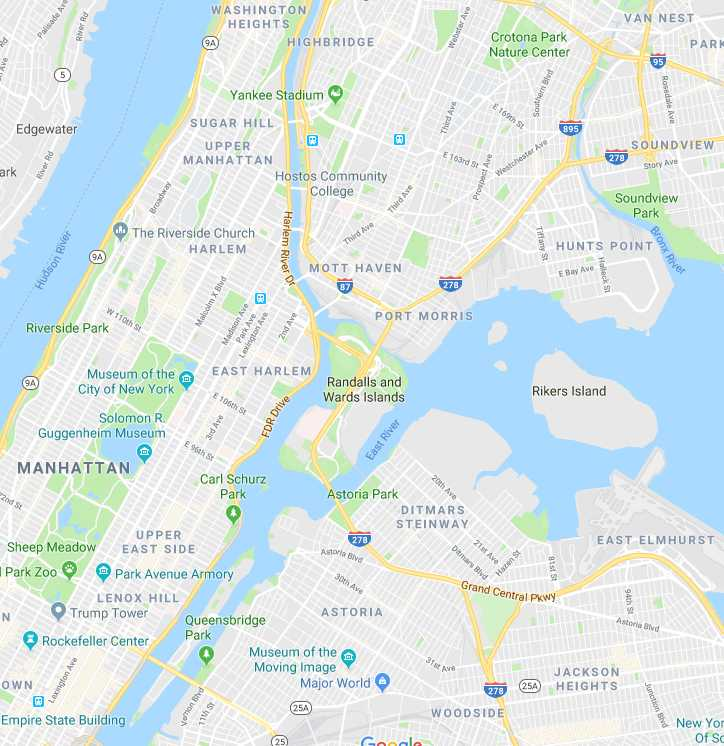 Google Map Of New York City.New York City Grid System Vs Good Will Hunting The Fordham Ram