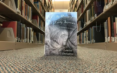 The House of Early Sorrows, by Louise DeSalvo, in Walsh Library on Fordham University Rose Hill campus. The book was published by the Fordham Press in 2018 (Courtesy of Kevin Stoltenborg).