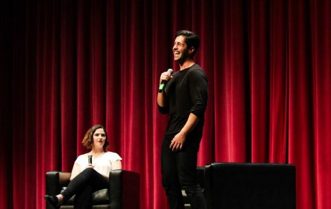 Josh Peck on stage in Leonard Prep Theater with CAB member Catherine Teaney, FCRH '19 (Courtesy of Julia Comerford).