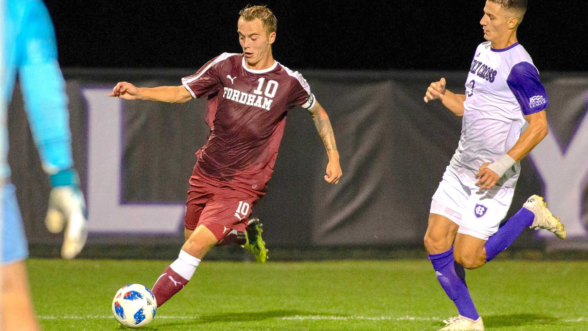 Janos Loebe (10) makes a play on the ball during the most recent season. (Courtesy of Fordham Athletics)