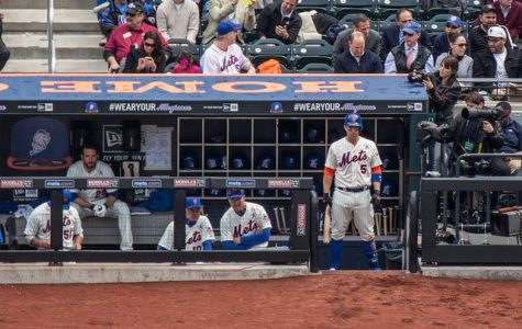 David Wright (far right) waits on the dugout steps on Opening Day 2013. (Chris Swann/Courtesy of Flickr)