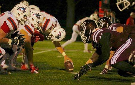 The Stony Brook and Fordham lines matching up on Saturday night. (Julia Comerford/The Fordham Ram)