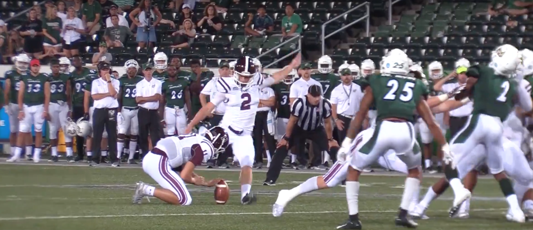 Sophomore kicker Andrew Mevis's 32-yard field goal was the only Rams score of the second half. (Courtesy of Fordham Athletics)