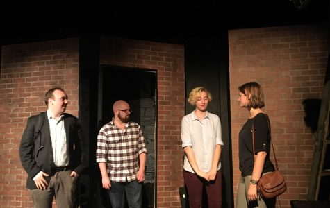 "From left to right: Zach Zalis, Matt Schumacher, Mary Hurstell and Hillary Bosch peform in ""On the Line"" at the Collins Blackbox. (Courtesy of Chris Merola)"