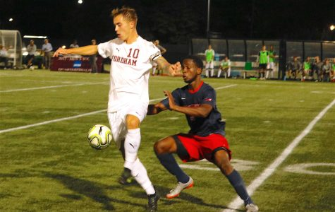 Men's Soccer Outruns URI in Thrilling A-10 Opener