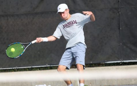 Max Green hits a forehand. He was the Rams' top performer at Princeton (Courtesy of Fordham Athletics).