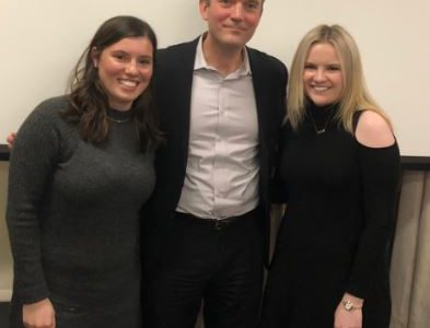 Kathleen Rocco (left) and Konfino (right) with Executive Digital Director of Vanity Fair and Fordham alumnus Mike Hogan. (Courtesy of Kate Konfino)