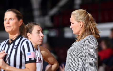 Head coach Stephanie Gaitley talks with Lauren Holden during the game on Tuesday. (Courtesy of Fordham Athletics)