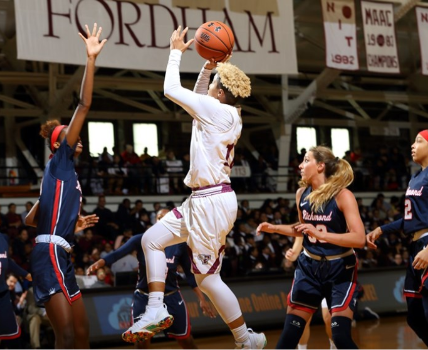 Redshirt+sophomore+Bre+Cavanaugh+led+Fordham+with+20+points%2C+12+rebounds+and+seven+assists+in+their+win+over+Richmond+on+Wednesday.+%28Courtesy+of+Fordham+Athletics%29