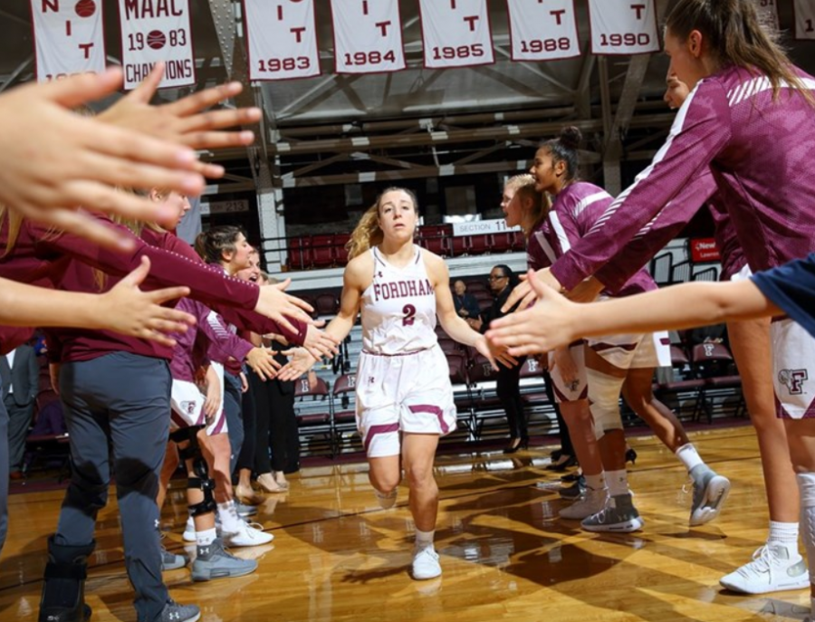 Senior+guard+Lauren+Holden+scored+14+points+and+made+four+three-pointers+to+lead+Fordham+past+George+Washington+in+the+Rams%27+A-10+Conference+opener.+%28Courtesy+of+Fordham+Athletics%29