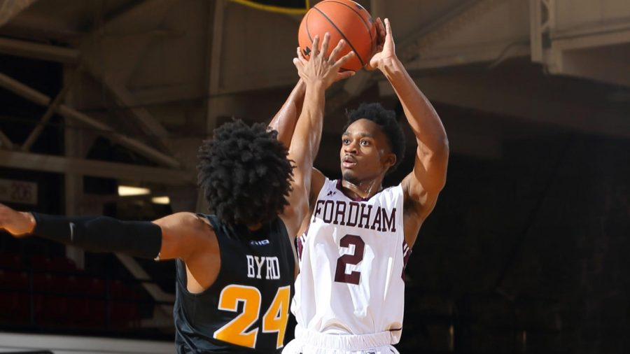 Freshman+Jalen+Cobb+rises+up+for+a+jump+shot.+%28Courtesy+of+Fordham+Athletics%29