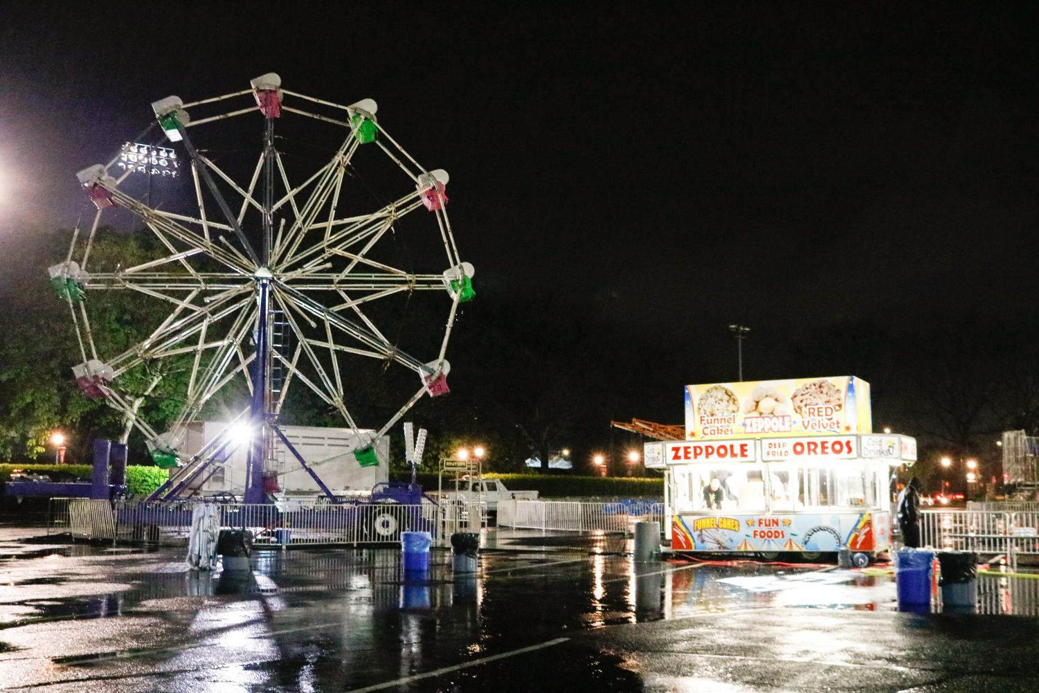 The carnival featured a ferris wheel, but did not run because of the rain. (Julia Comerford/ The Fordham Ram)