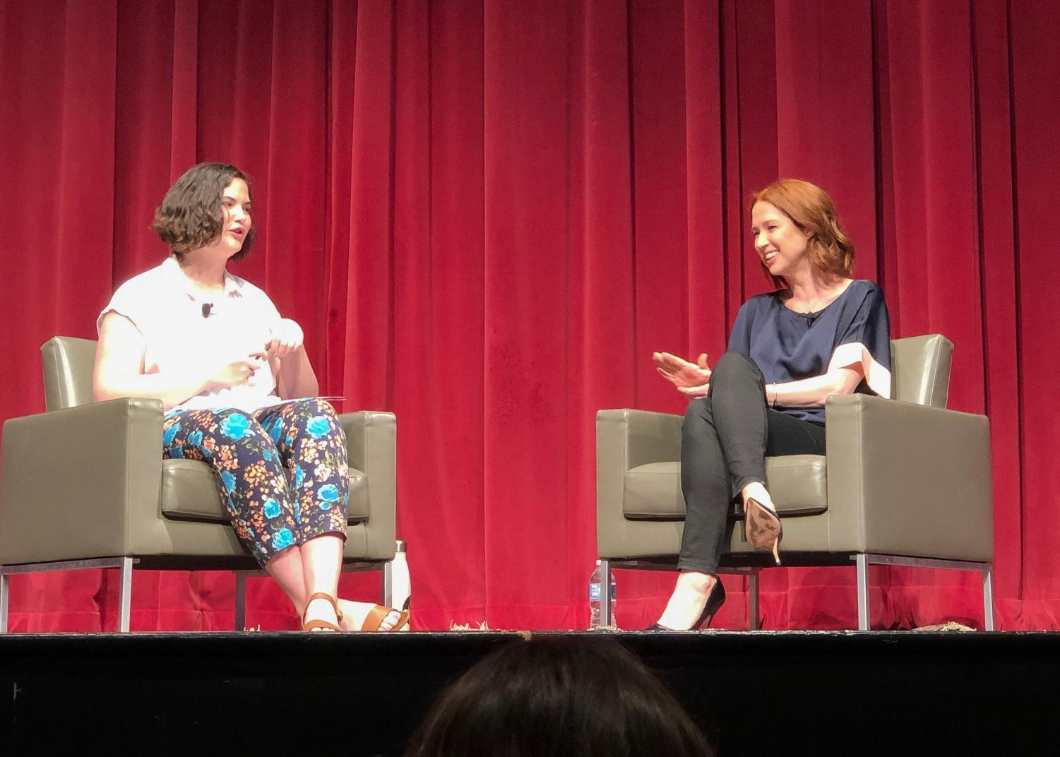 CAB President Kathryn Teaney, GSB '19, interviewed Ellie Kemper at the speaker event. (Colette Nolan/ The Fordham Ram)