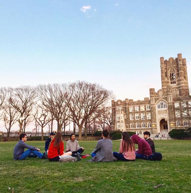 Members+of+Meditation+Club+meet+on+Edward%27s+Parade.+%28Julia+Comerford%2F+The+Fordham+Ram%29