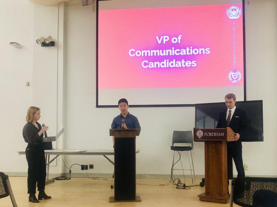 USG+candidates+debate+issues+at+Meet+the+Candidates+Night.+%28Katie+Morris%2F+The+Fordham+Ram%29