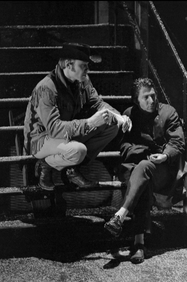 """Jon Voight (left) as Joe Buck and Dustin Hoffman as Enrico """"Ratso"""" Rizzo on the set of """"Midnight Cowboy"""" (All Photos Courtesy of Michael Childers)."""