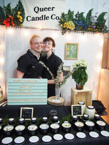 Gibson and Rose sell their candles and donate 10 percent of the proceeds to SLRP. (Photo courtesy of Queer Candle Co.)