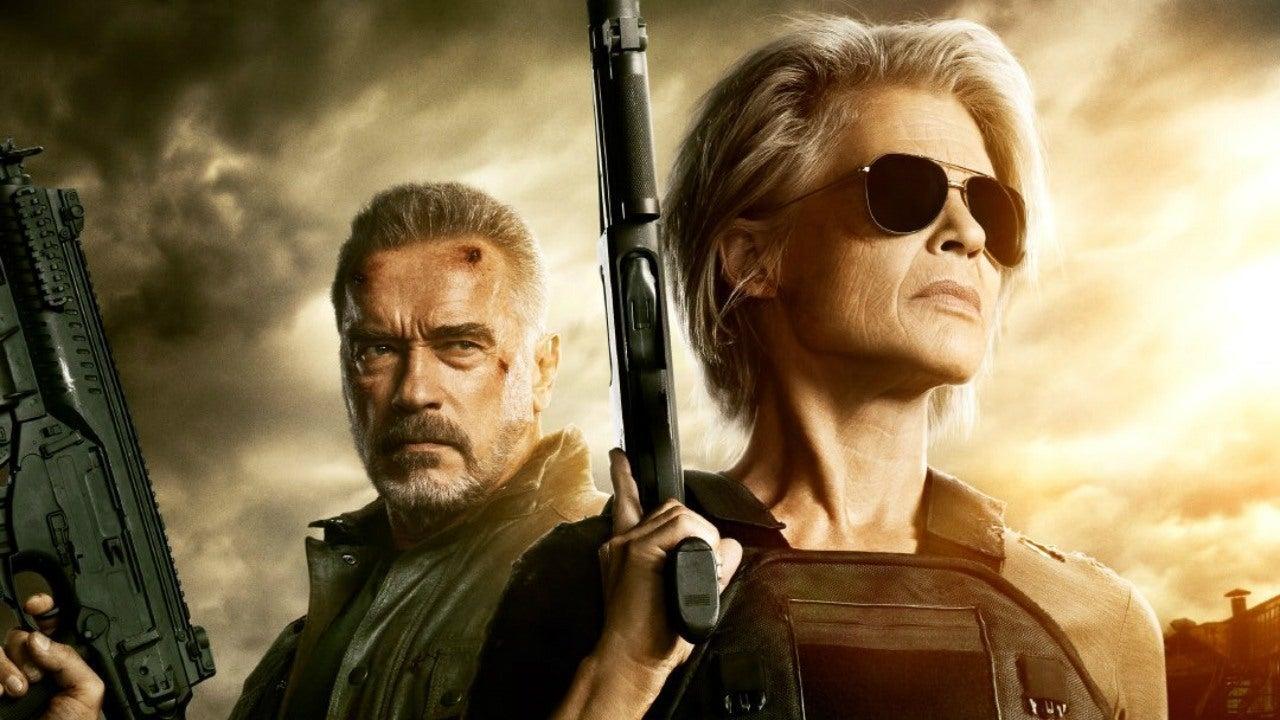 """Terminator: Dark Fate"" stars Linda Hamilton and Arnold Schwarzenegger, pictured above, along with Mackenzie Davis. (Courtesy of Twitter)"