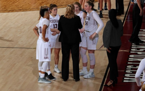 Fordham Women's Basketball got its first win on Wednesday thanks to a group effort. (Courtesy of Fordham Athletics)
