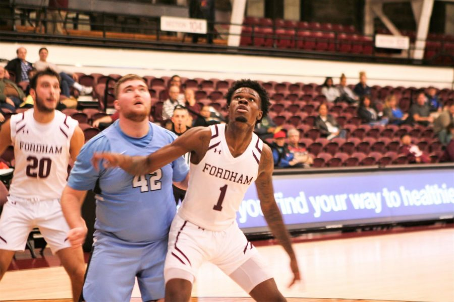 Chuba+O%27Hams+%28above%29+led+the+way+for+Fordham+with+a+double-double+on+Tuesday+night.+%28Alex+Wolz%2FThe+Fordham+Ram%29