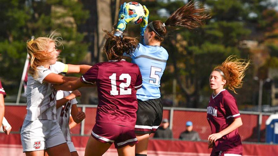 Fordham+Women%E2%80%99s+Soccer+suffered+a+blowout+loss+to+UMass+on+Tuesday+night+to+end+its+season+with+an+elimination+in+the+A-10+Tournament.+%28Courtesy+of+Fordham+Athletics%29