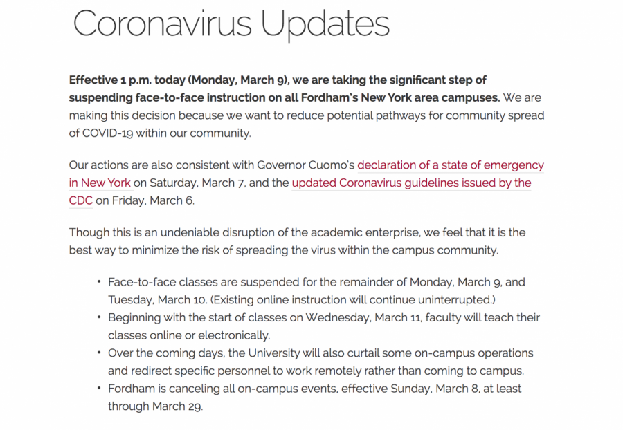 Fordham+Suspends+Face-to-Face+Classes+Following+NY+State+of+Emergency