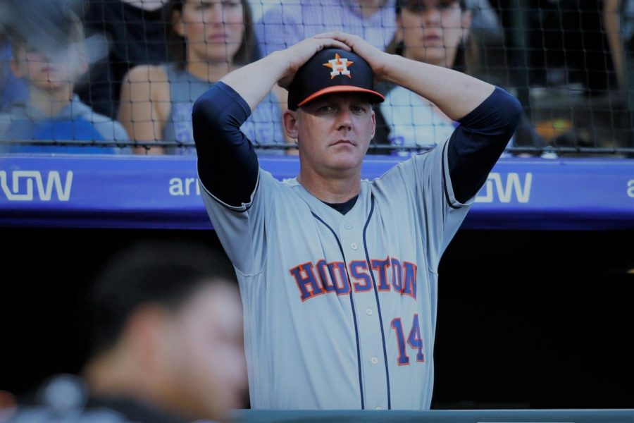 Astros manager AJ Hinch (above) lost his job as a result of the team