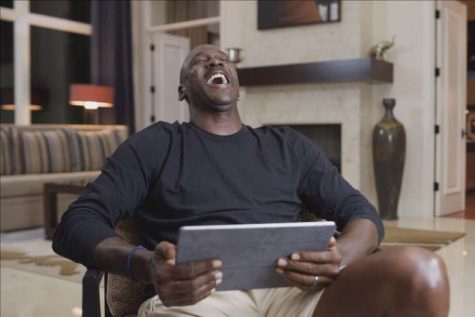 "Michael Jordan has a laugh at comments made by Gary Payton in ""The Last Dance."" (Courtesy of Twitter)"