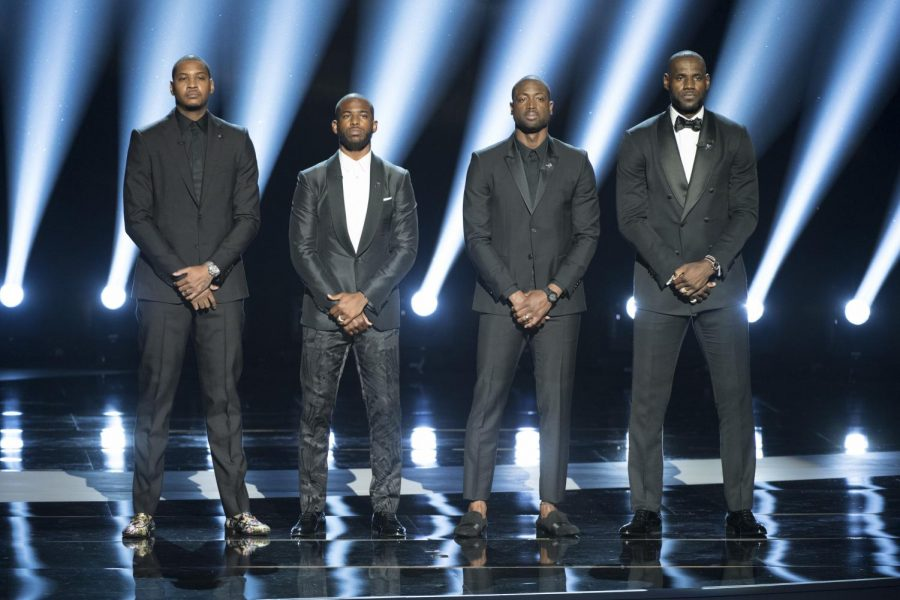 LeBron+James%2C+Dwyane+Wade%2C+Chris+Paul+and+Carmelo+Anthony+standing+united+before+speaking+their+peace+at+the+2016+ESPY+Awards.+%28Courtesy+of+Flickr%29