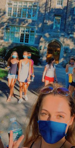 Staff writer Taylor Mascetta walks around campus with freinds all wearing masks. (Courtesy of Taylor Mascetta/ The Fordham Ram)