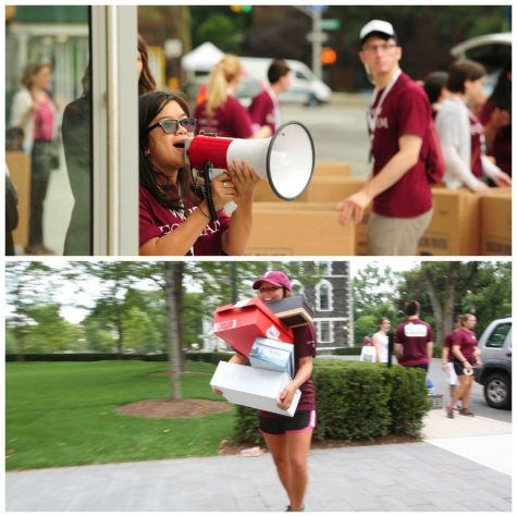 Freshman move into their dorms while practicing social distancing. (Courtesy of Twitter)