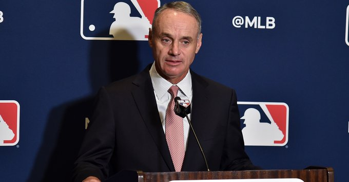 MLB commissioner Rob Manfred (above) made headlines this week, announcing that the sports league was $8.3 billion in debt. (Courtesy of Twitter)