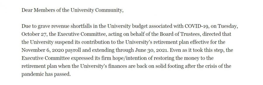 The Executive Committee for Fordham University has decided to suspend all contributions to the university's faculty and staff retirement plan effective for the Nov. 6, 2020 payroll and extending through June 2021. (Mackenzie Cranna/The Fordham Ram)